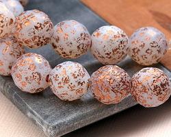 Czech Glass Matte Textured White Opal w/ Rose Gold Flecks Fire Polished Round 14mm