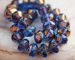 Czech Glass Capri Blue w/ Bronze Luster Saucer 9x14mm