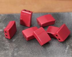 Red Enamel 2-Hole Tile Rectangle Bead 12x8mm