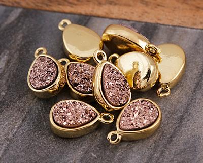 Metallic Bronze Crystal Druzy Teardrop Charm in Gold Finish Bezel 9x14mm