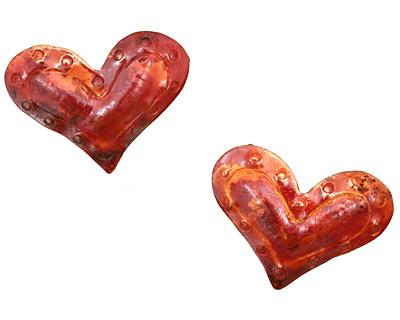 Patricia Healey Copper Dot Edged Puff Heart Pendant 32x23mm