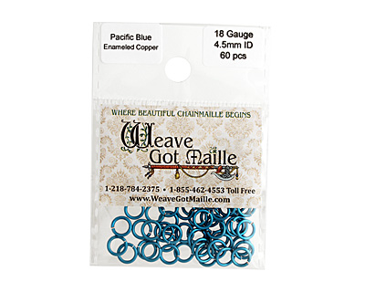 Pacific Blue Enameled Copper Round Jump Ring 6.5mm, 18 gauge