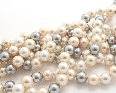 Vintage Lace Shell Pearl Mix Round 14mm