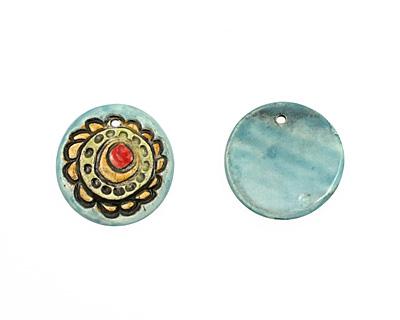 Jangles Ceramic Turquoise Flower Pendant 35-36mm