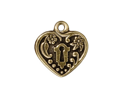 TierraCast Antique Brass (plated) Victorian Heart Frame Pendant 19mm