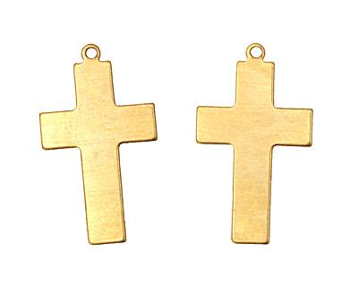 Brass Cross Blank Pendant 15x26mm