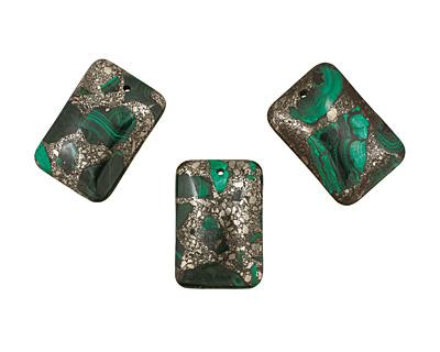 Malachite & Pyrite Rectangle Pendant 32x47mm
