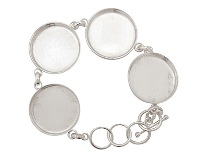 Silver (plated) Circle Bezel Link Bracelet 27mm