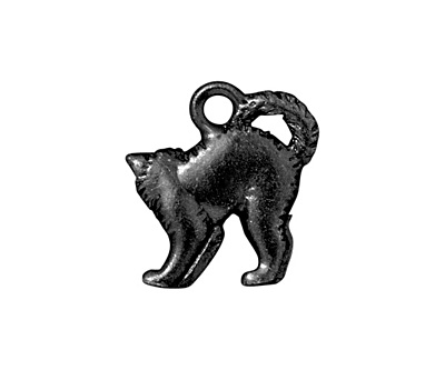 TierraCast Gunmetal Scary Cat Charm 17x18mm