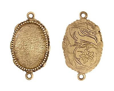 Nunn Design Antique Gold (plated) Large Ornate Oval Bezel Link 39x23mm