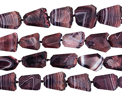 Dark Purple Line Agate Faceted Freeform Slab 29-45x23-35mm