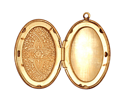 Brass Oval Ornate Heirloom Locket 27x37mm
