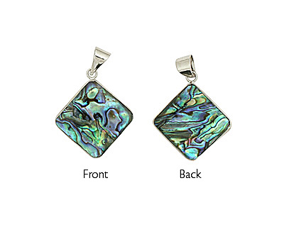 Abalone 2-Sided Silver Wrapped w/ Bail Diamond Pendant 29-30mm