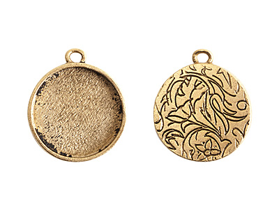 Nunn Design Antique Gold (plated) Crest Circle Bezel Pendant 23x27mm