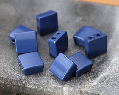 Navy Blue Enamel 2-Hole Tile Square Bead 8mm