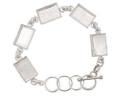 Silver (plated) Rectangle Bezel Link Bracelet 18x12mm