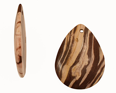 Brown Zebra Jasper Flat Teardrop Pendant 38x50mm