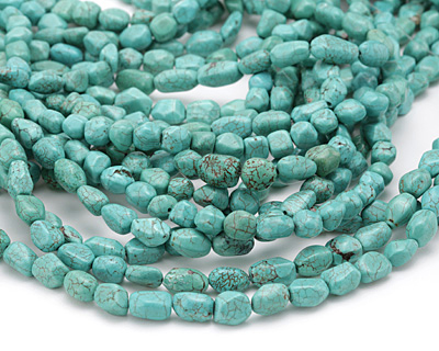6-10 mm 13 Pretty Nugget Shaped Turquoise Blue Magnesite Gemstone Beads 6-15