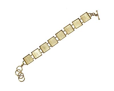 Brass Square Bezel Link Bracelet 17mm