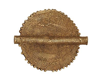 African Brass Flat Coin 68-70x48-50mm