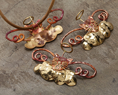 Patricia Healey Copper Singing Angel Cat Pendant 82x37mm