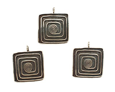 Saki White Bronze Square Spiral Pendant 23x27mm