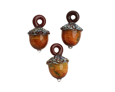 Grace Lampwork Copper River Acorn Pendant 27-28x31-32mm