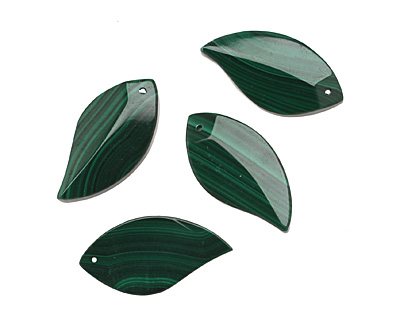 Malachite Faceted Leaf 15x30mm