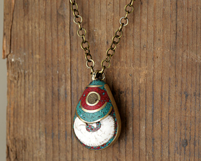 Tibetan Brass Naga Conch Shell Drop Inlaid w/ Turquoise & Coral 18-25x33-43mm