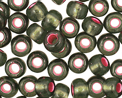 TOHO Olivine (with Frosted Silver & Pink Lining) Round 6/0 Seed Bead