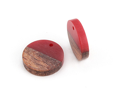 Wood & Cherry Resin Coin Focal 18mm
