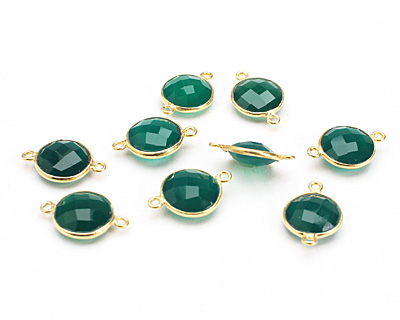 Green Onyx Faceted Coin Link in Gold Vermeil 18x11mm