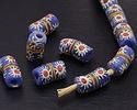 African Hand-Painted in White/Red Flower Burst on Blue Powder Glass (Krobo) Bead 17-18x10mm