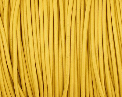 Yellow Round Leather Cord 2mm