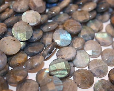Labradorite Faceted Coin 16mm