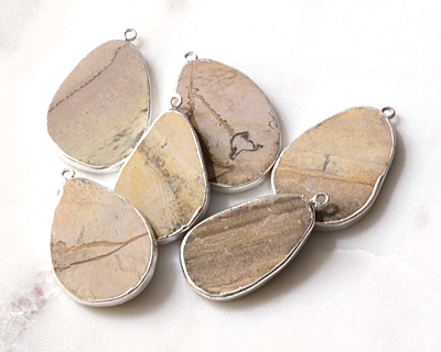 Silver Leaf Jasper Freeform Teardrop Silver Wrapped Pendant 21-30x39-50mm