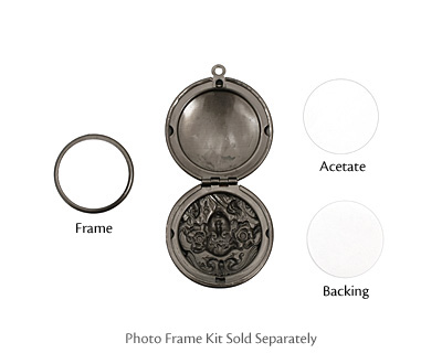 Gunmetal Round Maiden Heirloom Locket 30x35mm