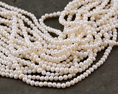 Pearly White Freshwater Potato Pearl 4-4.5mm