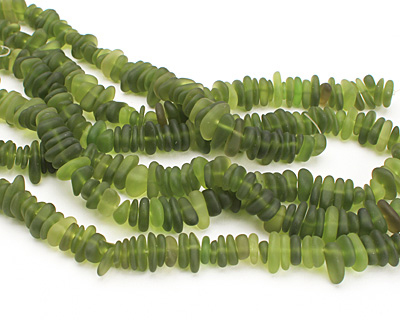 Olive Recycled Glass Pebble 2-4x7-12mm
