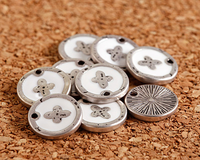 Zola Elements White Enamel Antique Silver (plated) Cross Coin Focal 13mm