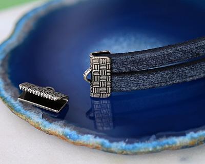 Antique Silver (plated) Basket Weave Ribbon Crimp End 13mm