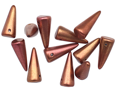 Czech Glass Matte Silky Rosy Gold Spike 7x17mm