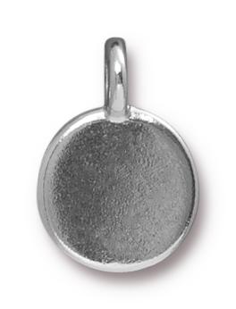 TierraCast Rhodium (plated) Stepped Bezel Charm w/ Light Topaz Crystal 12x17mm
