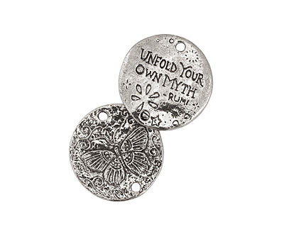 Green Girl Pewter Butterfly Myth Link 27mm