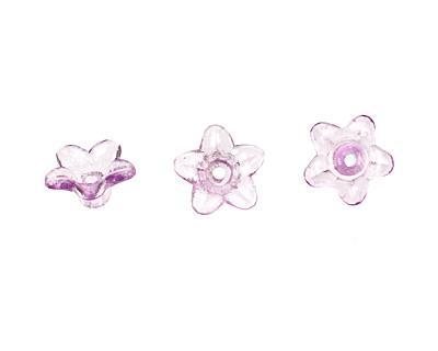 Lucite Transparent Lilac Tiny 5 Petal Daisy 5x9mm