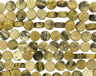 Yellow Turquoise Puff Coin 12mm