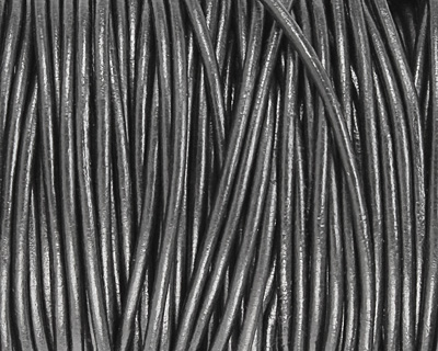 Gunmetal (metallic) Round Leather Cord 2mm