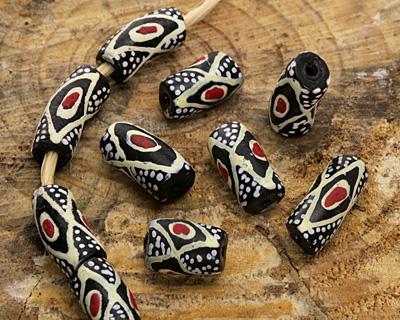 African Handpainted in Red/Cream/White on Black Powder Glass (Krobo) Bead 21-25x11mm