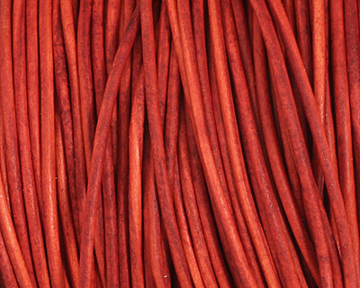 Natural Red Round Leather Cord 1.5mm