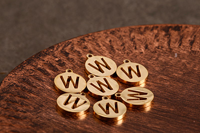 """Gold (plated) Stainless Steel Initial Coin Charm """"W"""" 10x12mm"""